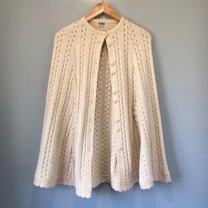 70's Vintage Knit Poncho Cape Scalloped Trim Rosanna Wintuk